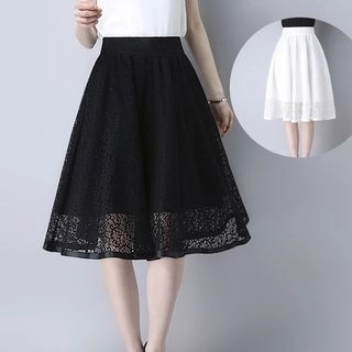 Yipin Lace Midi A-line Skirt