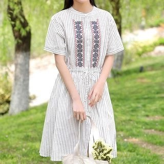 YICON Embroidered Short-Sleeve Striped A-Line Dress