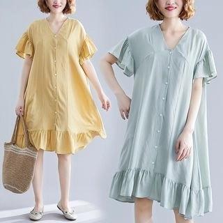 Diosa Short-Sleeve Frill Trim Buttoned A-Line Dress