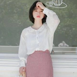 KANAMI Long-Sleeve Lace Collar Blouse