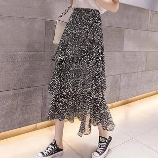 Yipin Dotted Midi Tiered Skirt