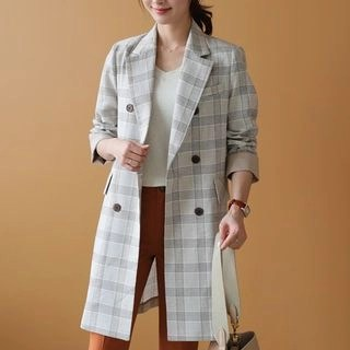 CLICK Double-Breasted Checked Linen Blend Jacket