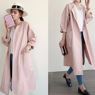 NIPONJJUYA Collarless Open-Front Long Coat