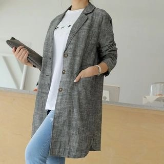 CLICK Single-Breasted Linen Blend Long Jacket