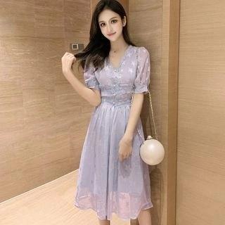 Vanaheim Short-Sleeve Star Print Midi Chiffon Dress