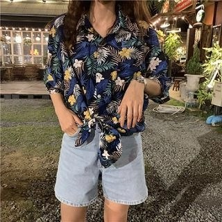 CosmoCorner Picture Print Short-Sleeve Blouse Blue - One Size