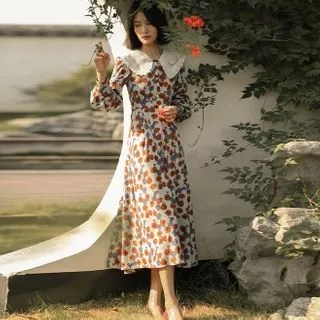 Sincethen Collared Floral A-Line Maxi Dress
