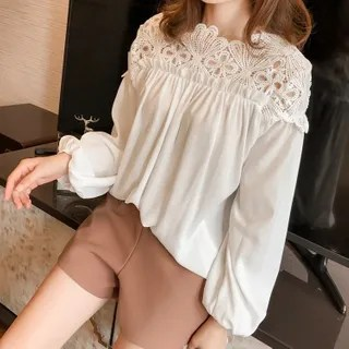 lilygirl Long-Sleeve Lace Crochet Blouse