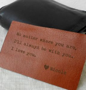 Leather stamped love letter