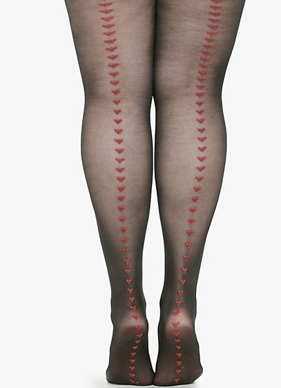 heart backed stockings