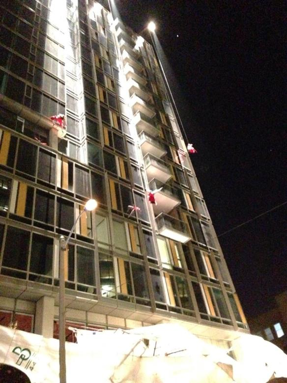 Caruso's Dream Aerialists Coming down 16 floors to remove the covers from the pianos