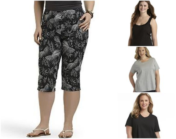 Black Tropical Capris (All 4X)                  Black Tank Top Gray Crewneck Tshirt        Black
