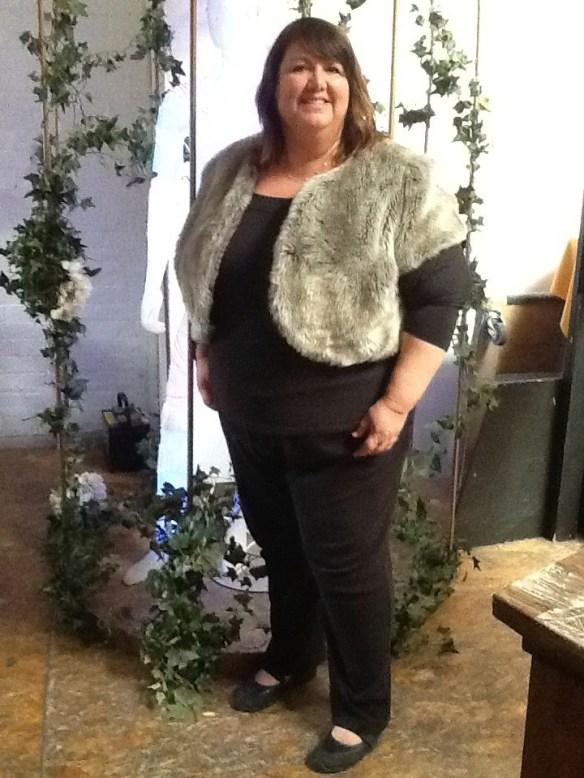 Debi aka RealGirl von Huene wearing a fun fake fur