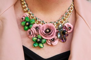 Glass and Metal Flower Necklace