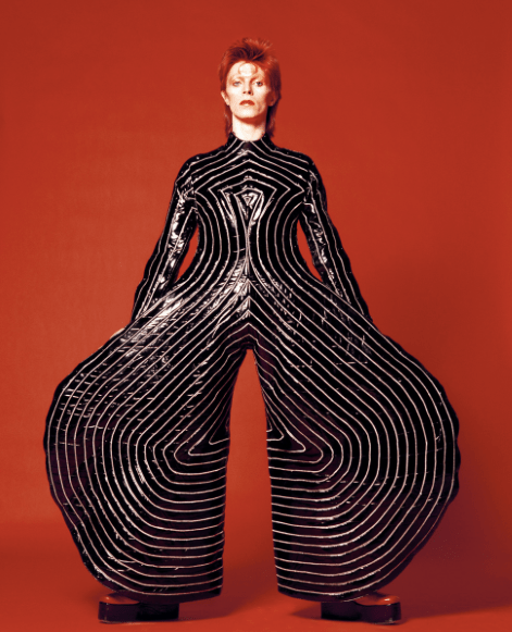Striped bodysuit for Aladdin Sane tour 1973 Design by Kansai Yamamoto Photograph by Masayoshi Sukita
