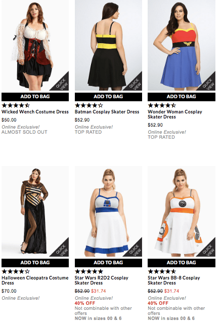 torrid costumes newer