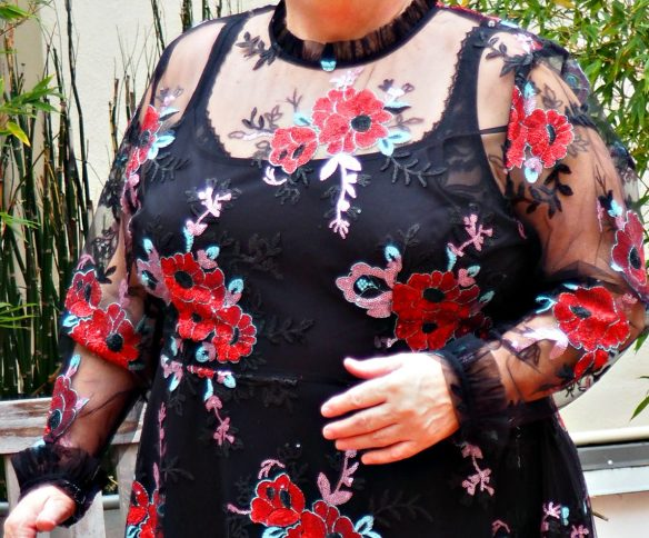 Eloquii Embroidered Red Flower Holiday Dress Review