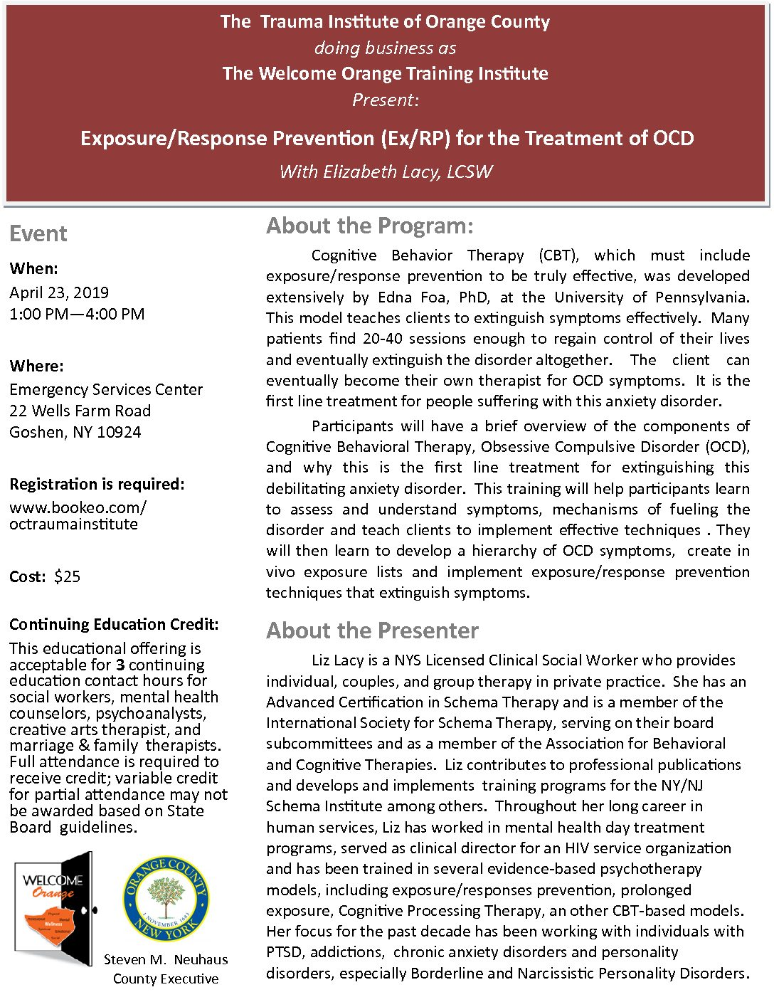 Exposure Response Prevention Ex Rp For The Treatment Of
