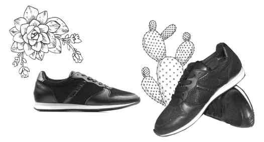 Photo de sneakers noires avec des illustrations de cactus #fashion #mode #tendance #chaussures #sneakers