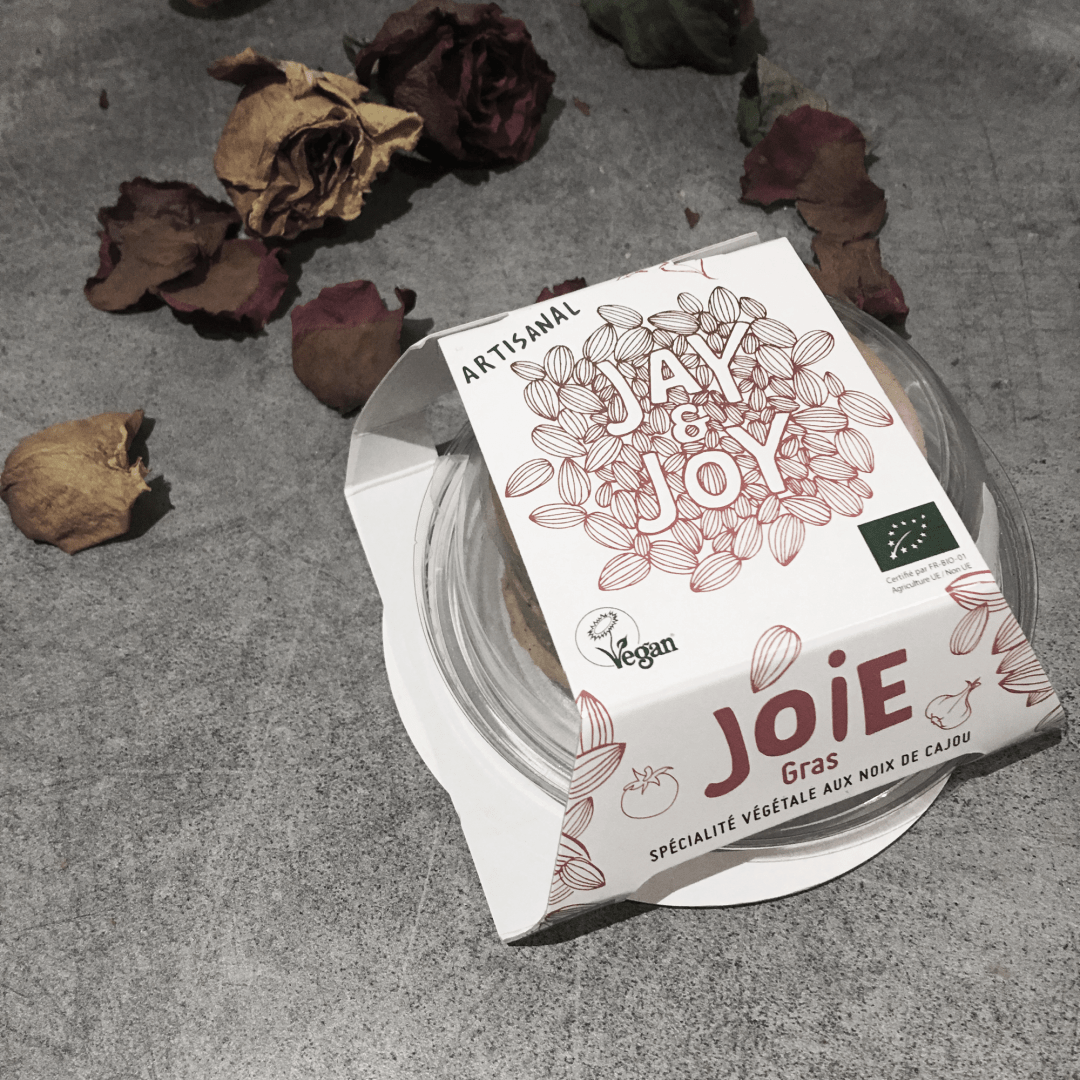 Le packaging du foie gras vegan Joie Gras de chez Jay and Joy