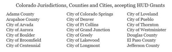 Colorado Jurisdictions Accepting HUD Grants