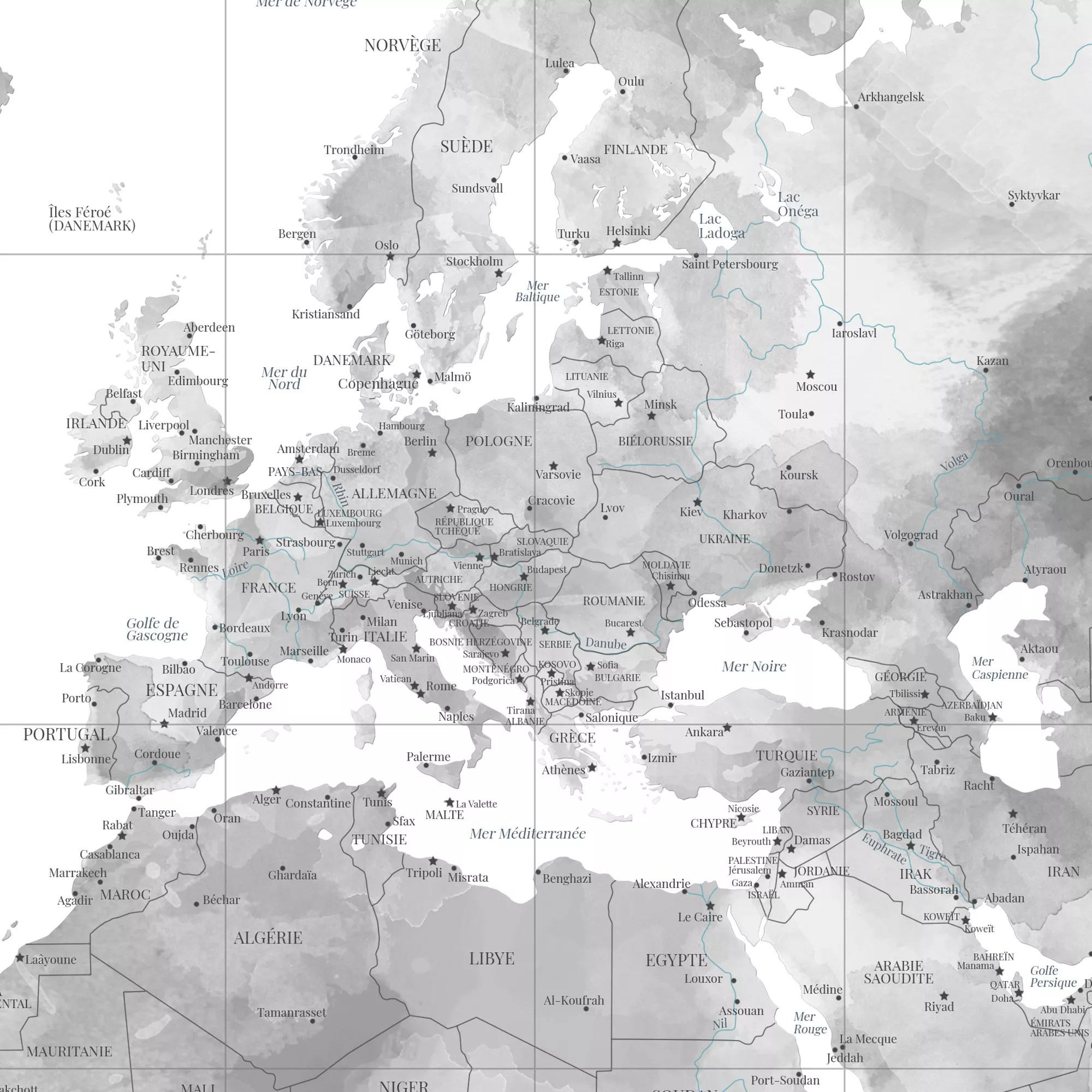 carte du monde noir et blanc murale en francais afficheo