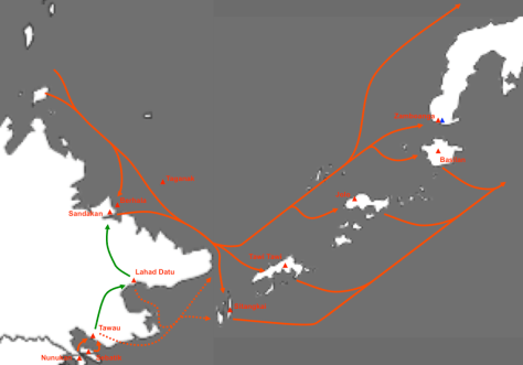 Smuggling routes in the approximate area of the Royal Hashemite Sultanate of Sulu and North Borneo, a defunct political entity. A number of factors have contributed to both abundance of and demand for weapons that are easily trafficked into and out of the Sulu Arms Market. Source: https://bookshop.iseas.edu.sg/