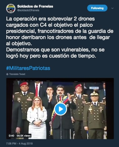 "The ""Soldiers of Flannel"" claimed credit for the drones that attacked Nicolas Maduro."
