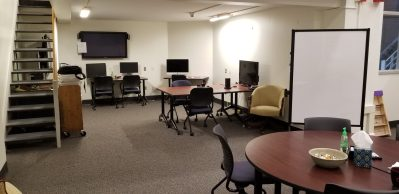 meeting area with computer work stations