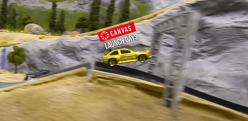 Car launching in the air from a dirt ramp