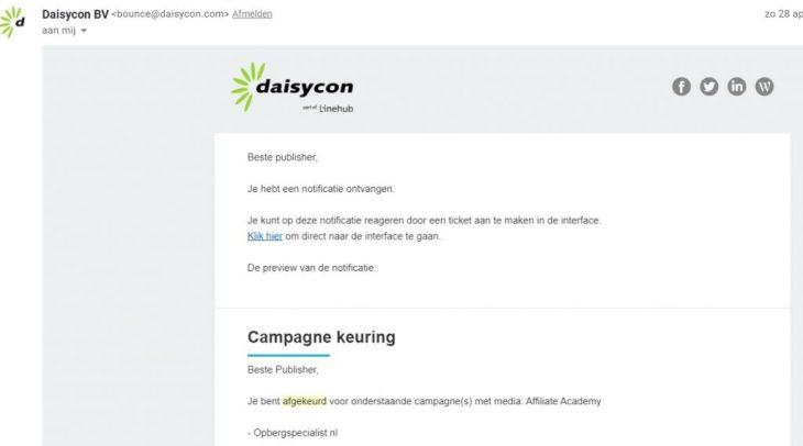 daisycon - afgekeurd