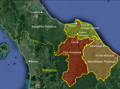 The Greater Pattani Region and Major Counterinsurgency Incidents. Photo Credit: Author via Google Earth.