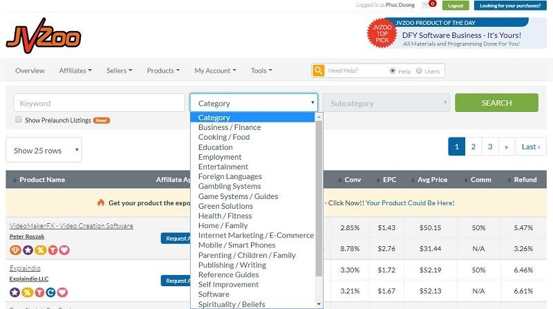 jvzoo-affiliate-find-products-choose-niche