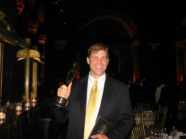 Shawn Collins winning a Golden Link Award