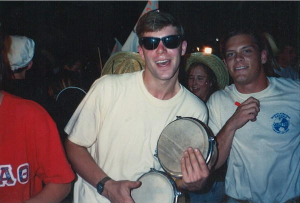 Shawn playing bongos in college