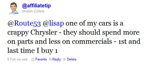 Tweet about Chrysler