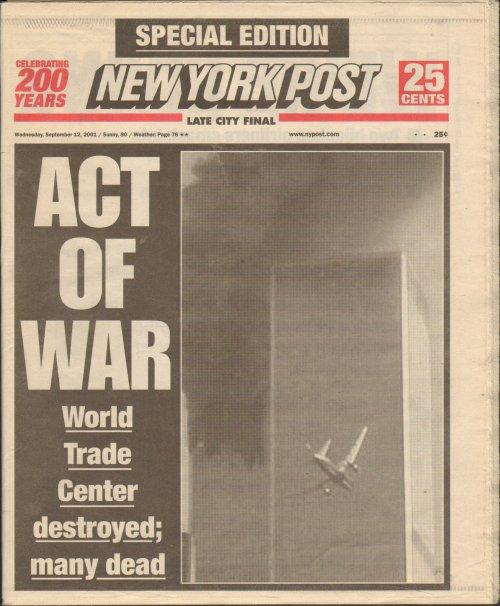 Cover of the New York Post on September 12, 2011