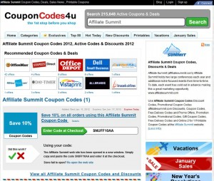 CouponCodes4u Affiliate Summit page