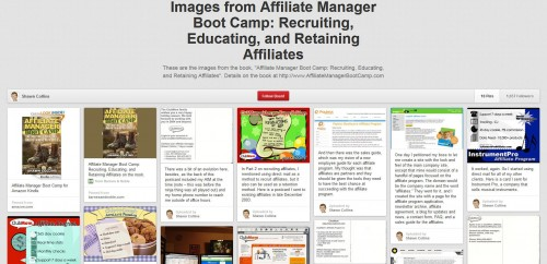 Affiliate Manager Boot Camp pinboard