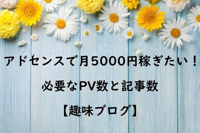 趣味ブログでアドセンス月5000円稼ぐためのPVと記事数
