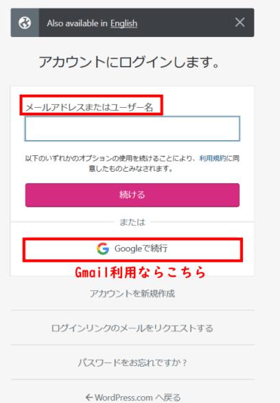 wordpress.comにログイン