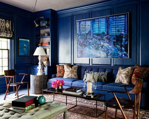 eclectic living room blue