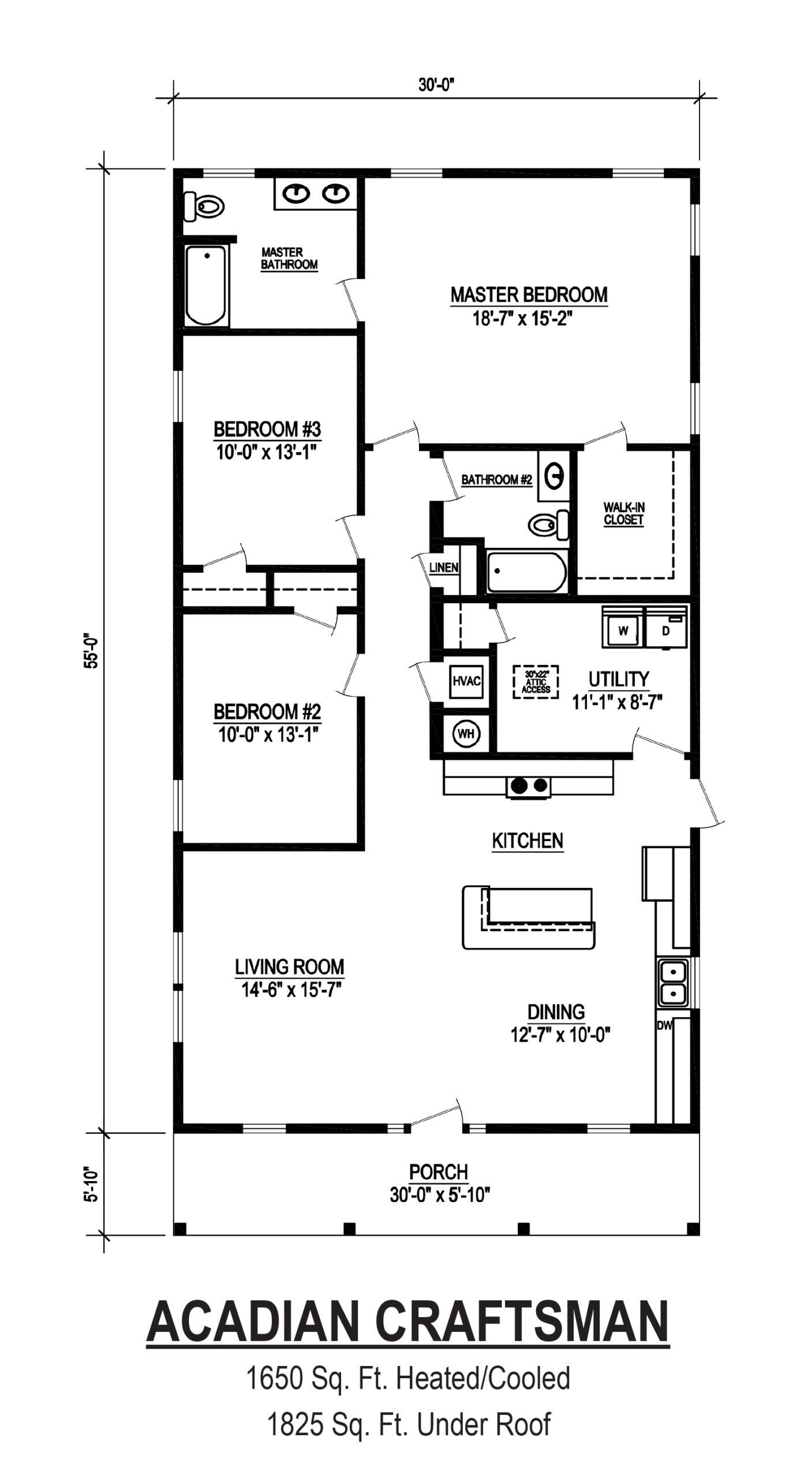 acadian craftsman modular home floor plan