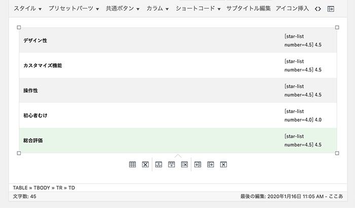 プリセットパーツ編集