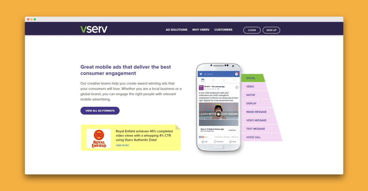 Vserv - as one of the top 10 mobile ad networks