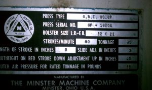 60 Ton Minster OBI Press 1