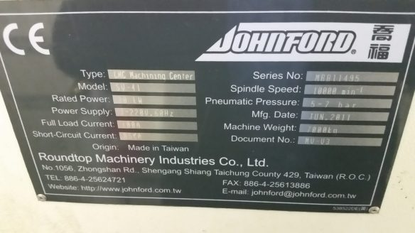 Used Johnford SV41 CNC Mill For Sale