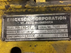 Erickson 130,000lb 65 Ton Die Handler For Sale