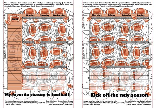 Classic Happy Planner Quick Pages Father's Day Sports Themed Football