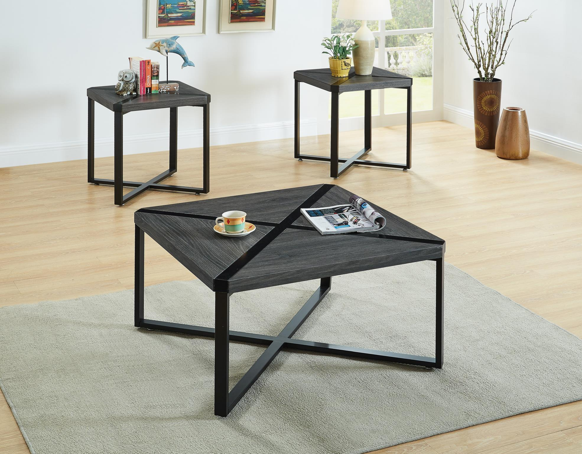 grey and black 3pc square coffee table set